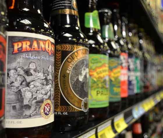 Calandro's craft beer bottles perspective