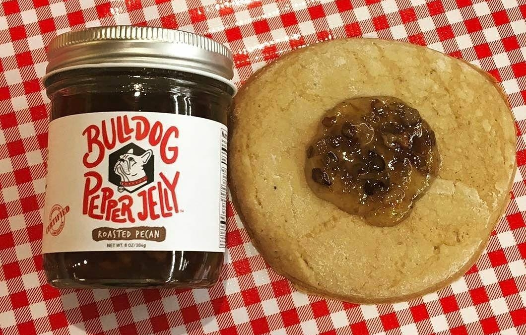 #Repost @bulldogpepperjelly ・・・ Calandro's famous #TeaCakes + #RoastedPecan Bulldog Pepper Jelly! Come out to The…
