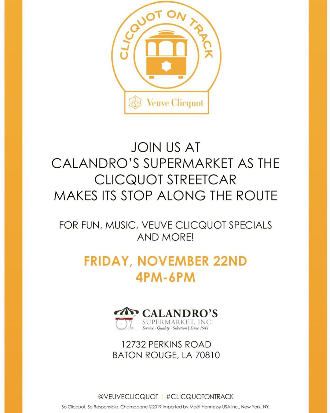 Veuve Clicquot's New Orleans Inspired streetcar will be making a stop by Calandro's on Perkins…