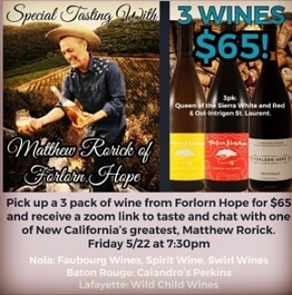 Join @forlornhopewines winemaker Matthew Rorick for a zoom discussion/tasting! 3 packs are $65 and available…