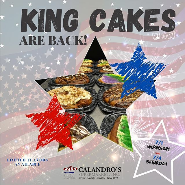 Celebrate 🇺🇸 this July 4th with our freshly baked King Cakes soon to be available…
