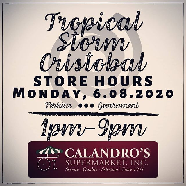 Hours for Monday, 6/8 after Cristobal passes through (assuming the storm blows through as expected)….
